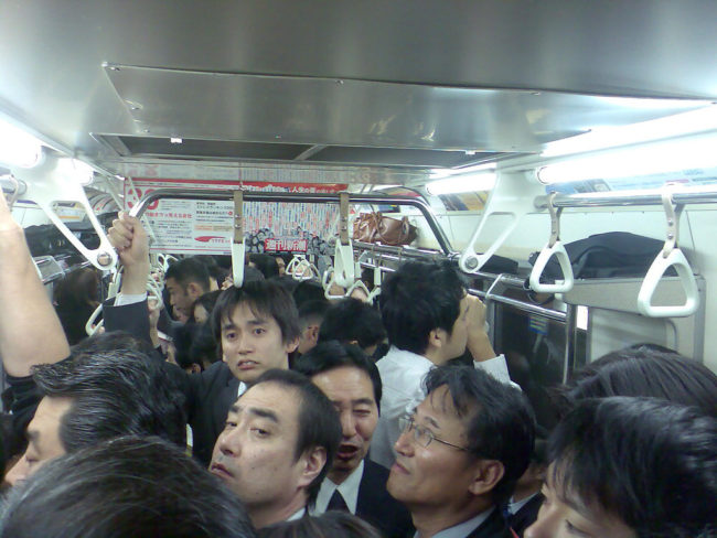 And obviously, there is absolutely zero personal space inside the trains.