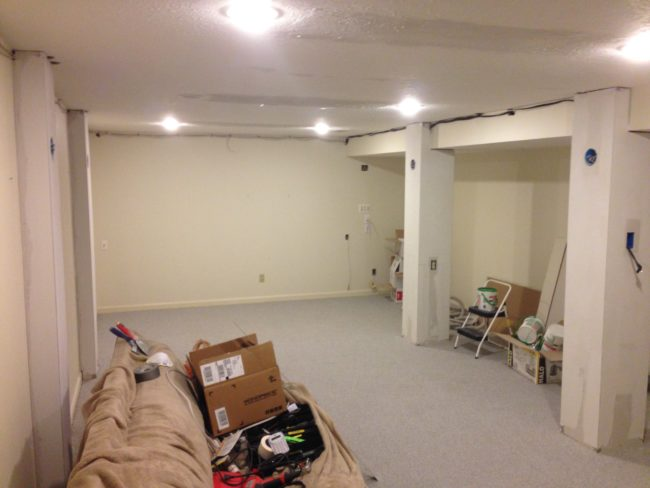 After that, the columns were covered with drywall.