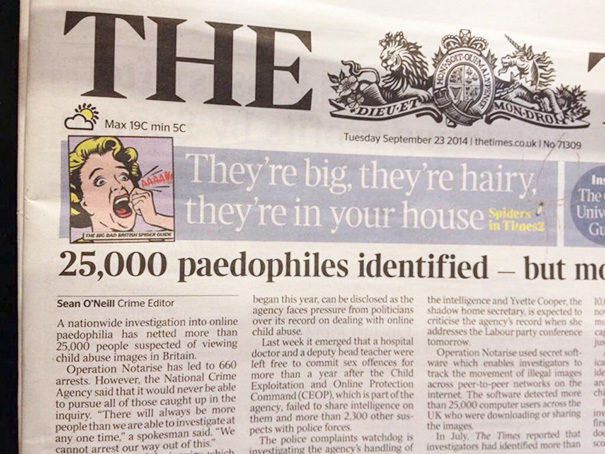 "Disclaimer: Not all ""paedophiles"" are big and hairy."