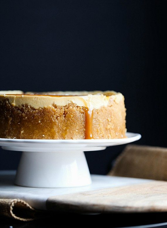 "This <a href=""http://cookiesandcups.com/instant-pot-salted-caramel-cheesecake-2/"" target=""_blank"">salted caramel cheesecake</a> looks almost too good to eat...almost."