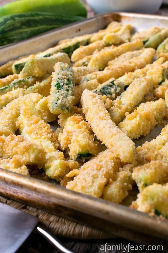 "For a healthier option, try <a href=""http://www.afamilyfeast.com/baked-zucchini-fries/"" target=""_blank"">baked zucchini fries</a> with a cracker crust."