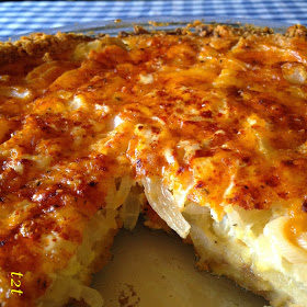 """<a href=""""http://www.turnips2tangerines.com/2015/04/cheddar-and-ritz-cracker-vidalia-onion.html?m=1"""" target=""""_blank"""">Vidalia onion pie</a> is everything that's right in the world."""