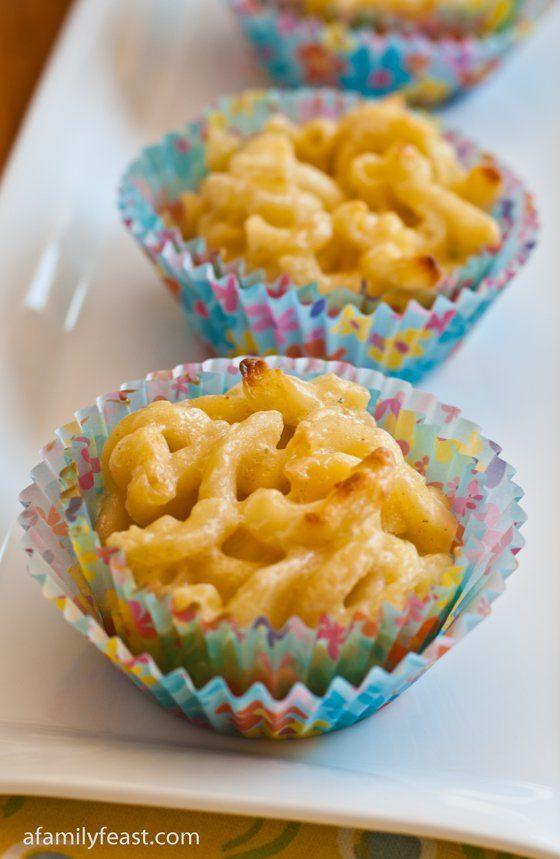 "I bet you can't eat just<em> one</em> <a href=""http://www.afamilyfeast.com/mac-and-cheese-cupcakes/"" target=""_blank"">mac and cheese cupcake</a>."