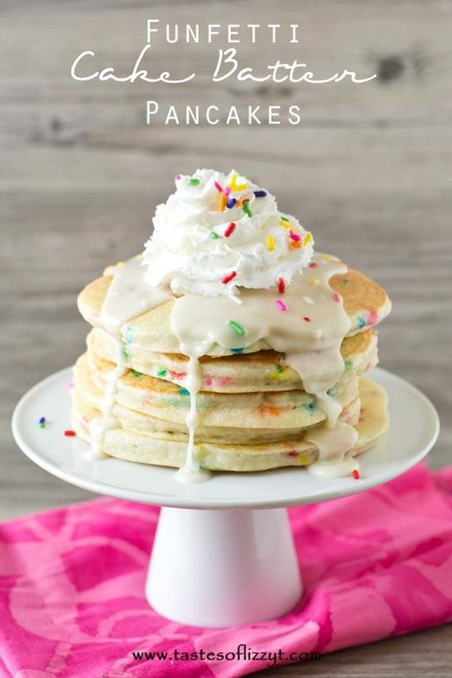 """This <a href=""""http://www.tastesoflizzyt.com/2014/08/04/funfetti-cake-batter-pancakes/"""" target=""""_blank"""">colorful breakfast treat</a> is made with funfetti cake mix."""