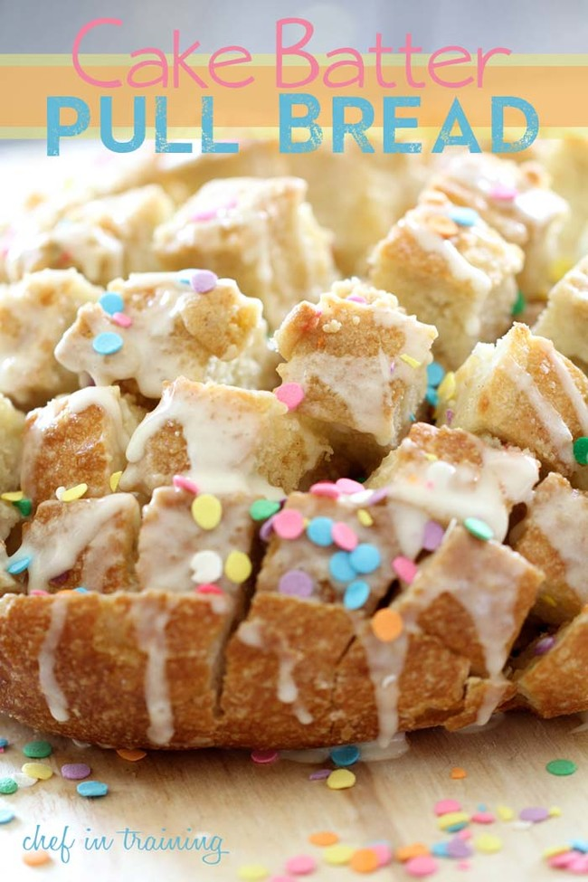 """<a href=""""http://www.chef-in-training.com/2013/03/cake-batter-pull-bread/"""" target=""""_blank"""">This cake batter pull bread</a> is a unique twist on just baking a cake."""