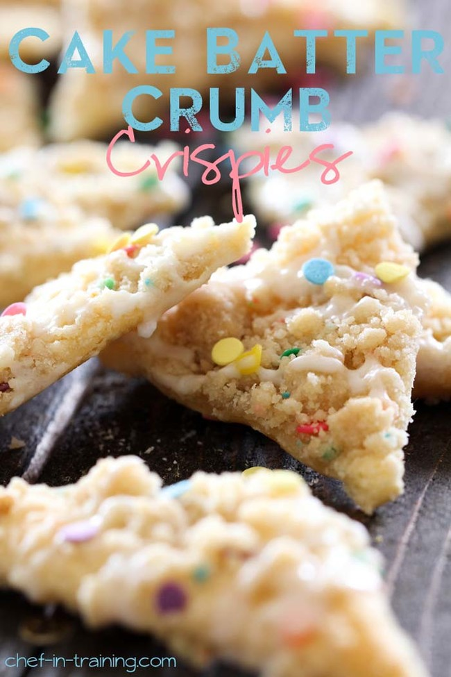 """It's impossible to eat just one of these <a href=""""http://www.chef-in-training.com/2013/04/cake-batter-crumb-crispies/"""" target=""""_blank"""">cake batter crumb crispies</a>."""