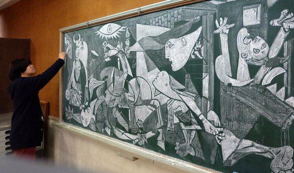 "He even gave Picasso's ""Guerinca""  a chalkboard replica."