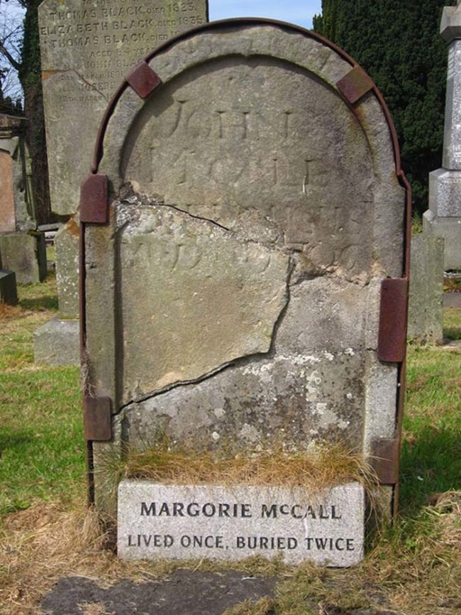 Then, still in a sort of daze, McCall wandered home. She knocked on the door, and according to legend, when her husband saw her in her burial clothes, he dropped dead of shock.
