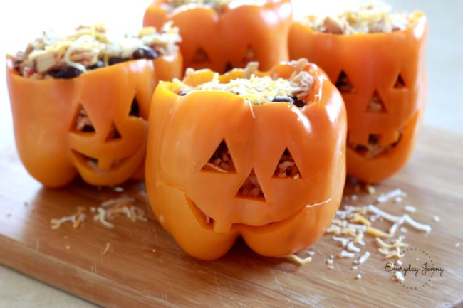 "These <a href=""http://www.everydayjenny.com/shredded-chicken-rice-stuffed-peppers-halloween-style/"" target=""_blank"">chicken-stuffed peppers</a> are scary good."