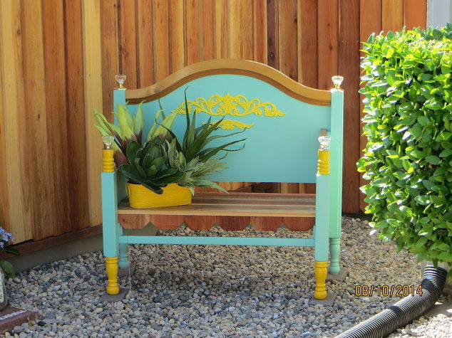 """Take your headboard from the bedroom to the backyard by making this <a href=""""http://www.hometalk.com/4246729/outdoor-furniture-bench-bed-frame-repurpose-upcycle"""" target=""""_blank"""">cool bench</a>."""
