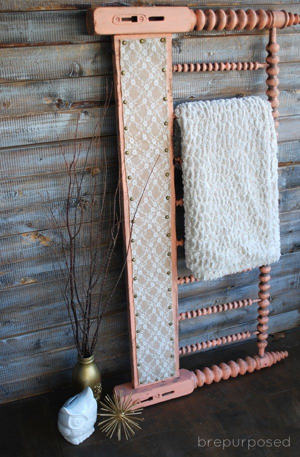 """Who knew a headboard could make an awesome <a href=""""http://brepurposed.porch.com/2014/10/15/headboard-turned-quilt-rack/"""" target=""""_blank"""">quilt holder</a>?"""