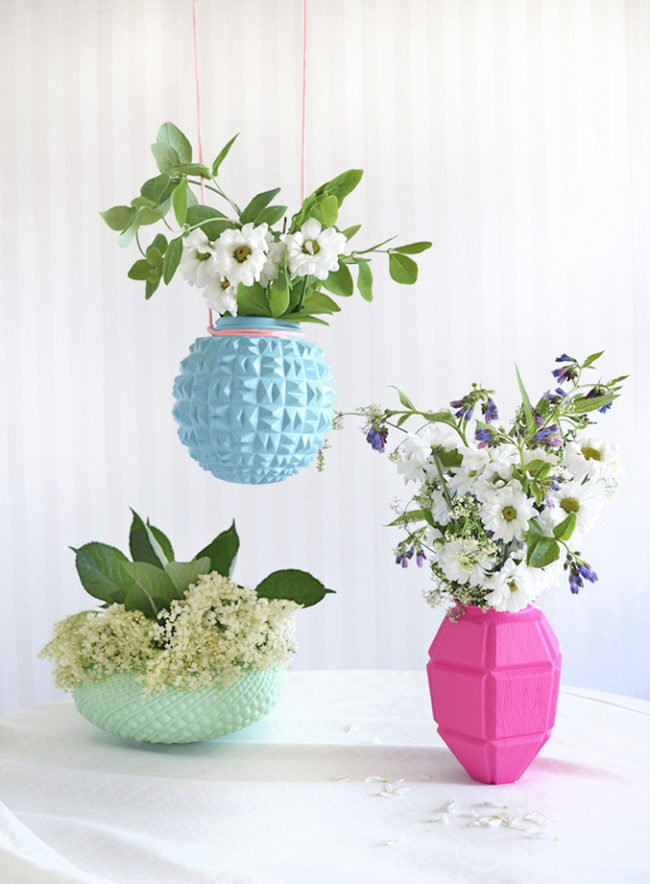 """Upcycle old lampshades into unique <a href=""""http://thehousethatlarsbuilt.com/2015/07/upcycled-lampshade-vases.html/"""" target=""""_blank"""">floral vases</a>."""