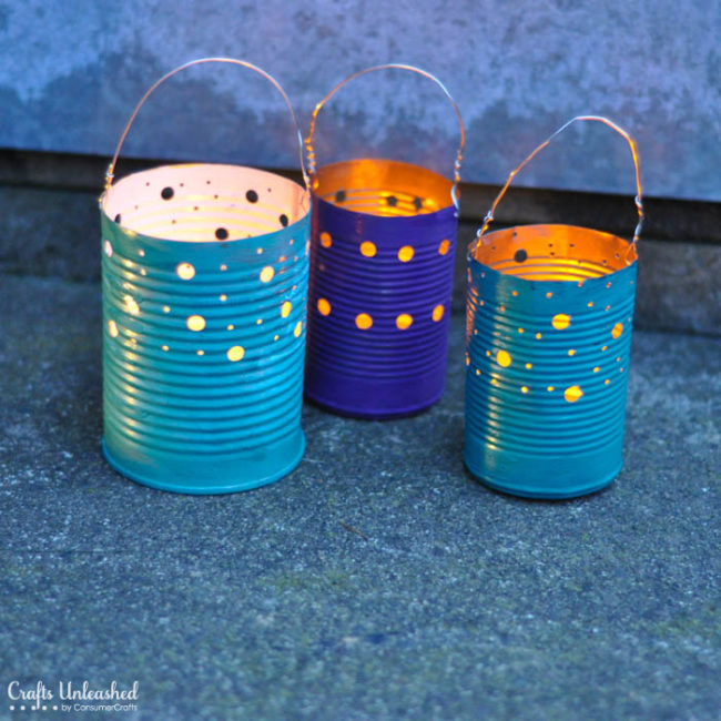"""<a href=""""http://blog.consumercrafts.com/craft-basics-main/tin-can-crafts-luminaries/"""" target=""""_blank"""">Tin can luminaries</a> are great to have around when you're throwing backyard parties!"""