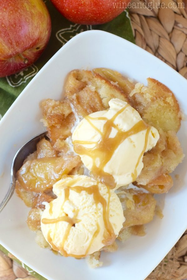 """Good thing swimsuit season is over, because this <a target=""""_blank"""" href=""""http://www.wineandglue.com/2015/09/caramel-apple-cobbler.html"""">caramel apple cobbler</a> is irresistible."""