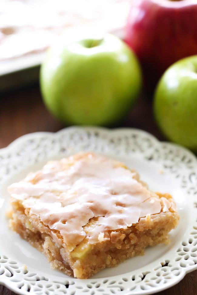 """Good luck trying not to eat the whole sheet of this scrumptious <a target=""""_blank"""" href=""""http://www.chef-in-training.com/2015/09/caramel-apple-sheet-cake/"""">caramel apple cake</a>."""