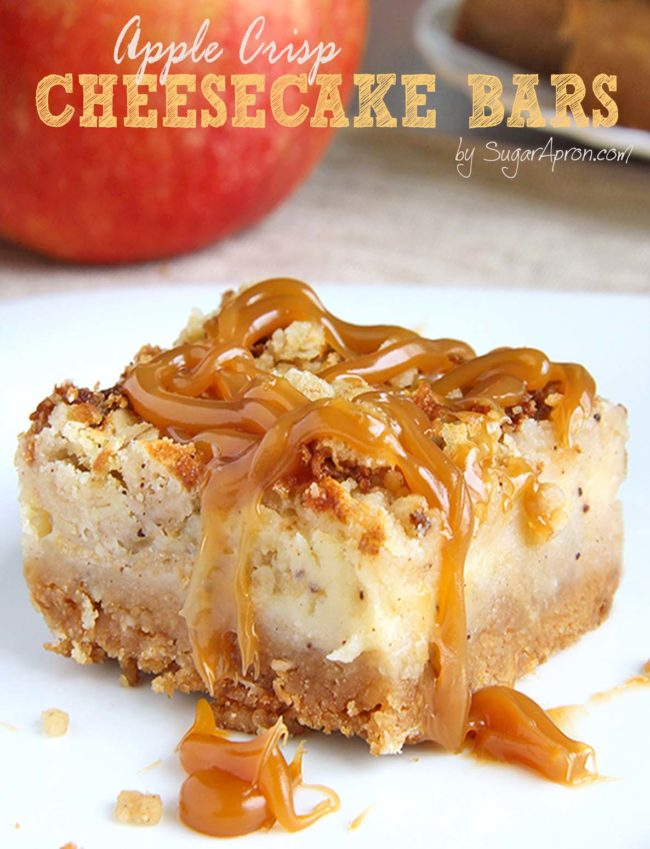 "These <a target=""_blank"" href=""http://sugarapron.com/2015/10/09/caramel-apple-crisp-cheesecake-bars/"">apple crisp bars</a> make cheesecake even more mouth-watering."