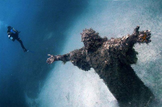 Nothing like an underwater Jesus statue to stoke your fears of open water.
