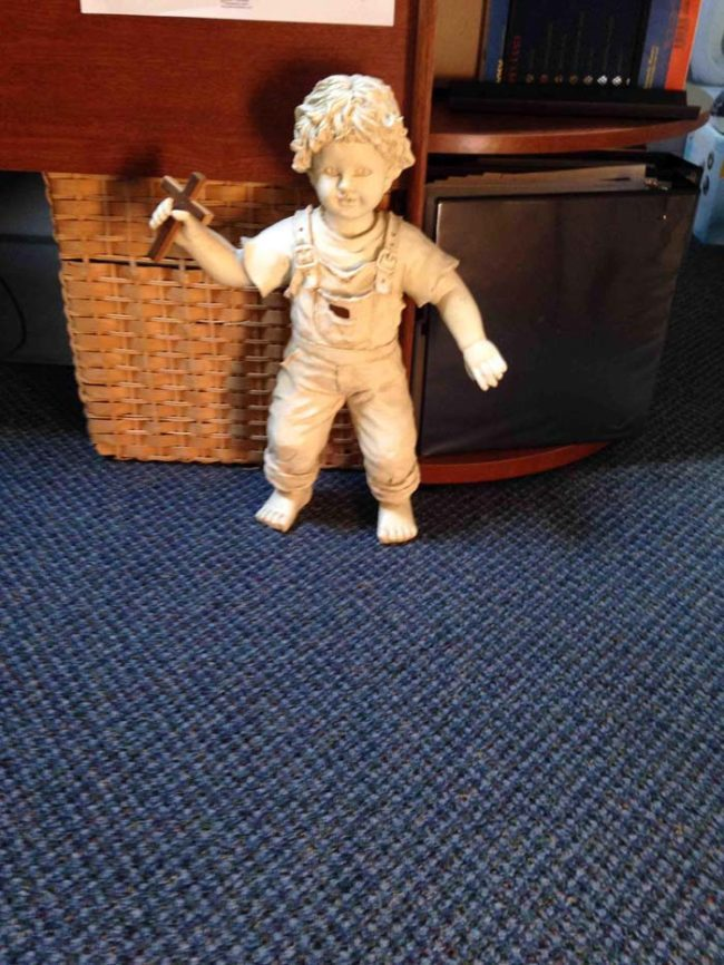 This was found in the office of a youth pastor. It looks like something from the opening scene of a horror movie.