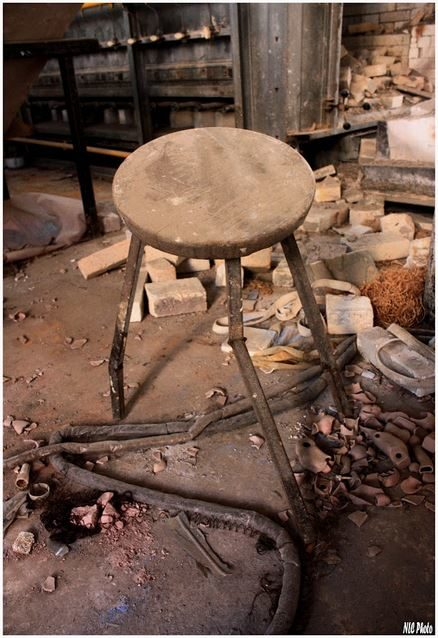 Labrador also found stools that seemed to be waiting for the factory workers to return.