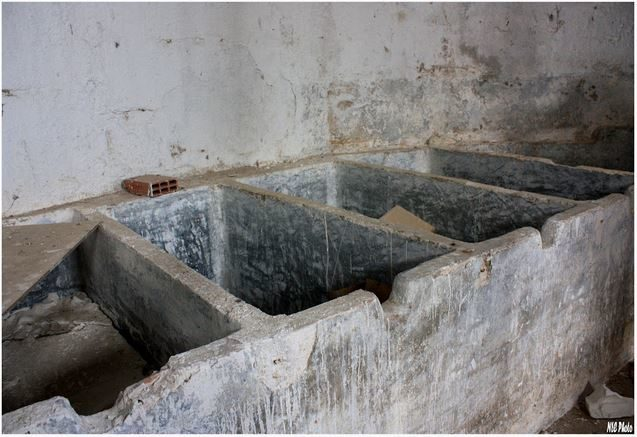 These served as washing bins for the parts, but they look more like makeshift graves.