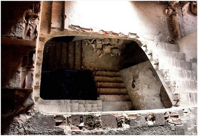 The stairs were even scarier, not only because of their appearance, but because they could have collapsed at any moment.