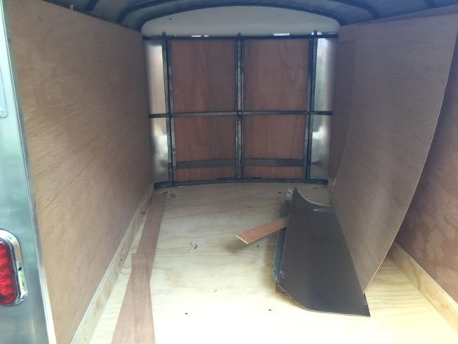 The crafter first removed the trailer's plywood interior.