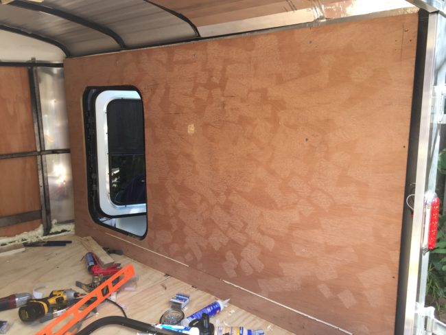 To help with paneling the inside, he reinstalled the original plywood liners.