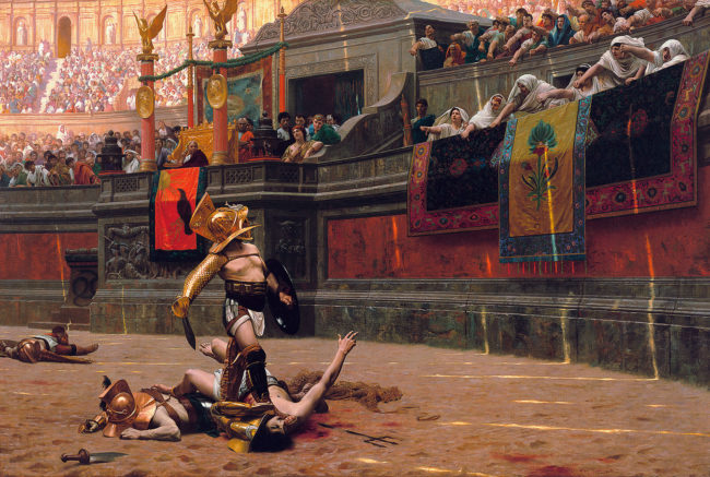 Gladiators fought to the death.