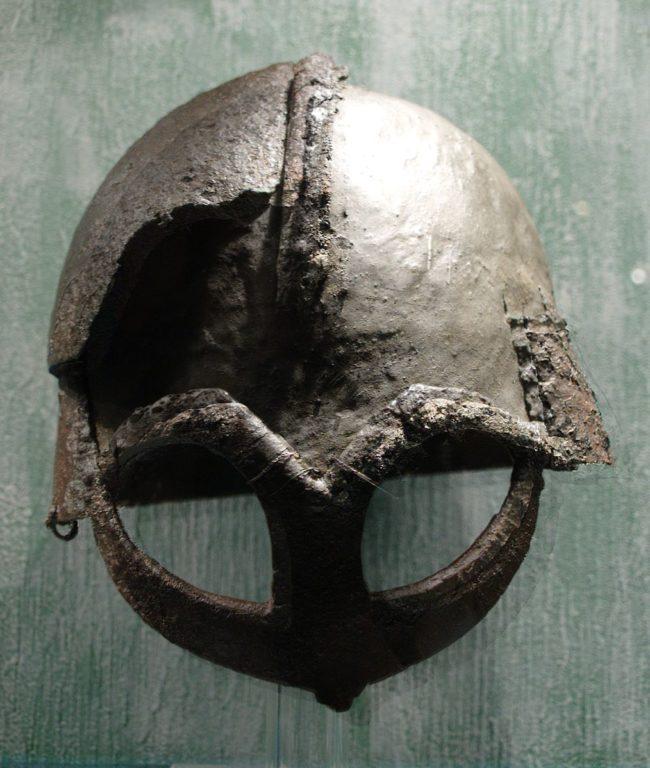 Vikings wore horned helmets in battle.