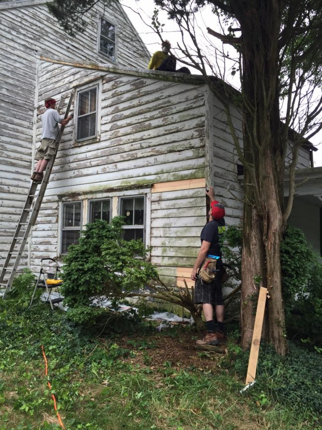 The eager workers spent their weekends last summer doing yard work, painting, and getting the house back up to code.