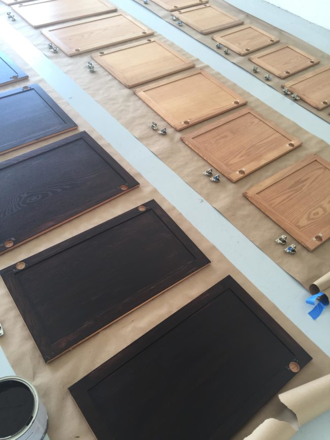 There were over 40 cabinet doors that needed to be stained.