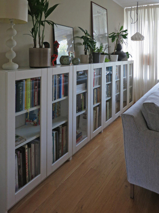 "Perhaps IKEA's most ubiquitous design, the Billy series is really versatile. For starters, you could optimize your small space by <a href=""http://www.ikeahackers.net/2015/08/billy-bookcases-grytnas-glass-doors.html?utm_source=feedburner&amp;utm_medium=feed&amp;utm_campaign=Feed:+Ikeahacker+(ikeahacker)"" target=""_blank"">adding glass doors</a> and building out instead of up."