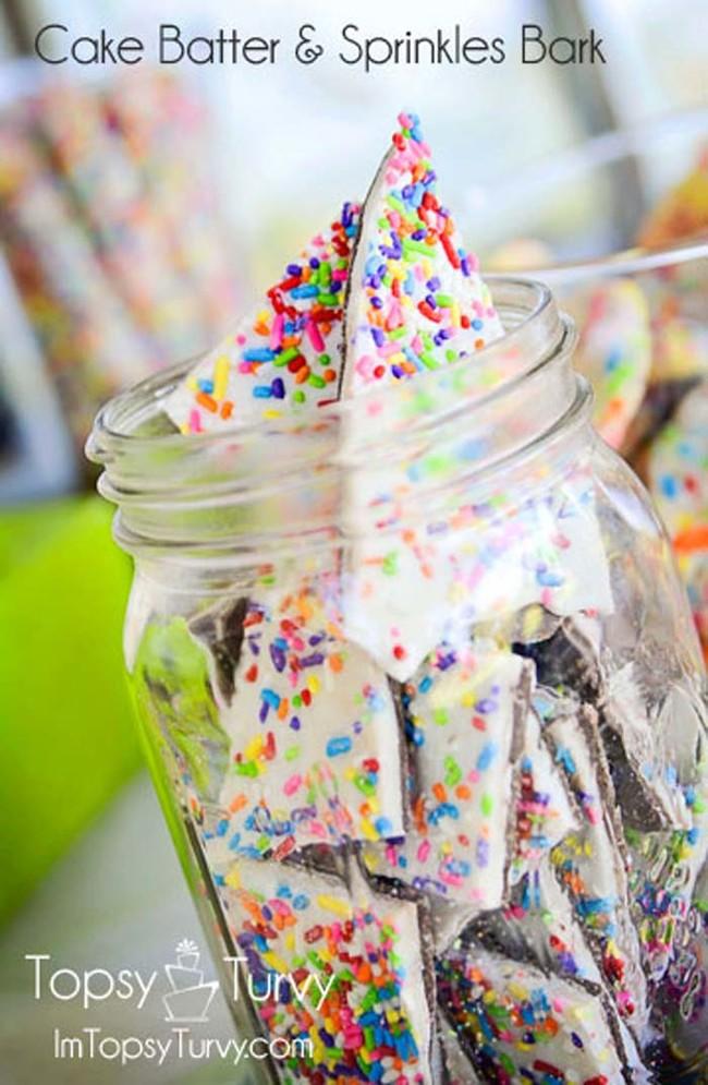 "<a href=""http://ashleemarie.com/cake-batter-sprinkles-bark/"" target=""_blank"">Cake batter and sprinkles bark</a> sounds like a cavity but I don't even care."
