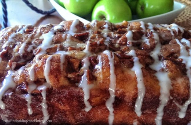 "Get ready to drool over this amazing <a target=""_blank"" href=""http://www.thebakingchocolatess.com/awesome-country-apple-fritter-bread-recipe/"">apple fritter bread</a>."