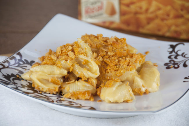 "<a href=""http://wishesndishes.com/cheez-it-macaroni-and-cheese/"" target=""_blank"">Cheez-It macaroni and cheese</a> adds a satisfying crunch to everyone's favorite comfort food."