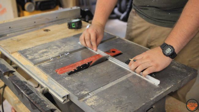 He began his build by cutting the aluminum frames to size.