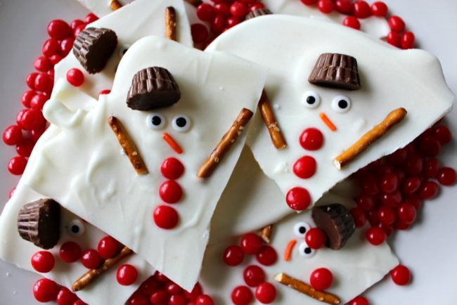 """This <a href=""""http://princesspinkygirl.com/melted-snowman-chocolate-bark/"""" target=""""_blank"""">melted snowman bark</a> is almost too cute to eat. Almost."""
