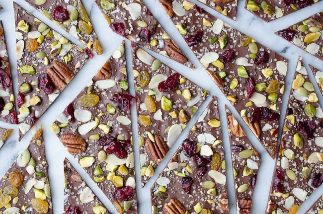 """This <a href=""""http://www.tasteloveandnourish.com/2015/11/07/hippie-chocolate-bark/"""" target=""""_blank"""">hippie bark</a> is loaded with healthy toppings like chia seeds and almonds, but that doesn't make it any less delicious."""