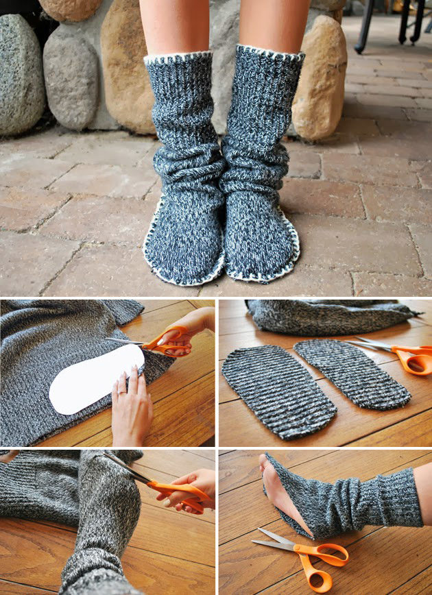 "If you haven't figured it out, sweaters can be repurposed into just about anything, including these cozy <a href=""http://www.muyingenioso.com/calzado-reciclando-un-jersey/"" target=""_blank"">sweater booties</a>."