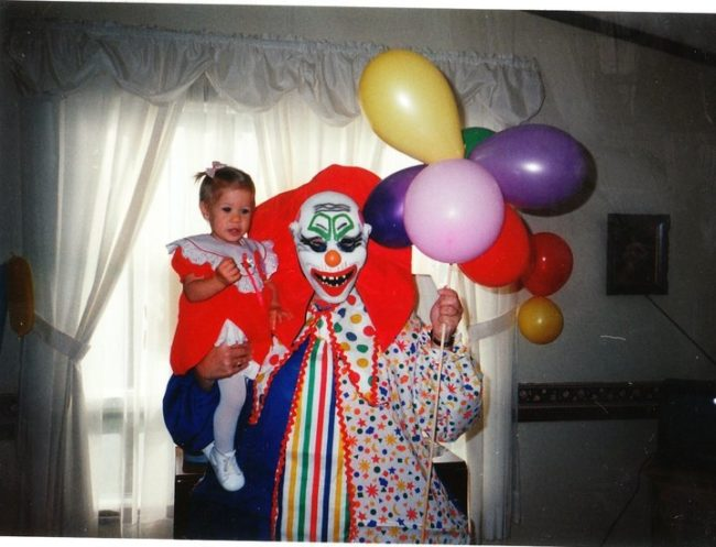 This little girl grew up to have a recurring dream about how she was abducted by a creepy clown.