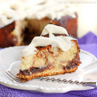 "This <a href=""http://www.the-girl-who-ate-everything.com/2012/10/cinnamon-roll-cheesecake.html"" target=""_blank"">cinnamon roll cheesecake</a> will melt even the coldest of hearts."
