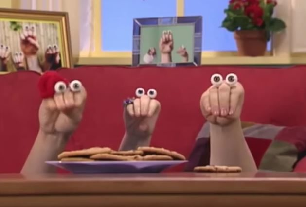 Oobi is a show on Nick Jr. that features a family of hands with eyeballs glued on top.  Seriously, who comes up with this stuff?