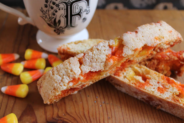 "Sweeten up tea time with <a href=""http://foodnasty.blogspot.ca/2012/10/trick-or-treat-biscotti.html"" target=""_blank"">candy corn biscotti</a>."