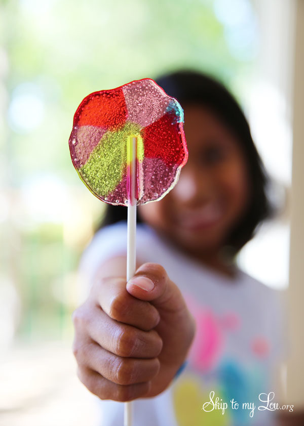 "Melt down your favorite sugar confections and create your very own <a href=""http://www.skiptomylou.org/5-minute-homemade-suckers/"" target=""_blank"">five-minute lollipops</a>."