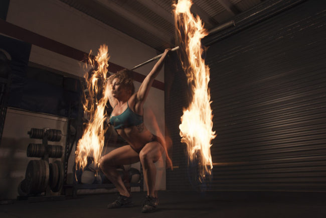 "And the same is true here. Wells <a href=""http://www.brandonwellsphotography.com/blog/combining-fitness-and-fire-photography"" target=""_blank"">says</a> that a flaming barbell was one of his first ideas for the shoot."
