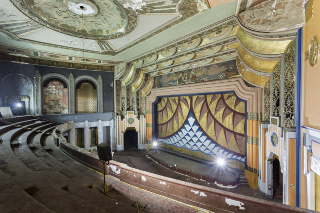 The Boyd Theatre in Philadelphia, Pennsylvania, opened in 1928 and hosted multiple movie premieres in its prime, but eventually closed in 2002.  Though efforts were made to restore it, the theater's auditorium was demolished in 2015 to make room for an apartment tower.