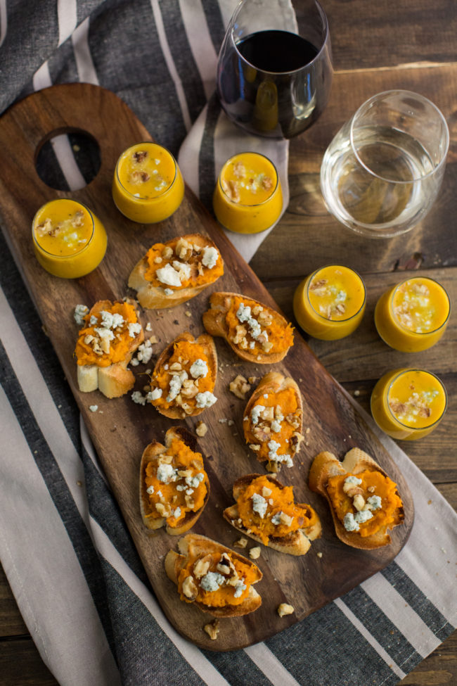 """Start off the night with delicious <a href=""""http://naturallyella.com/sweet-potato-crostini-and-butternut-squash-soup/"""" target=""""_blank"""">sweet potato crostini</a>."""