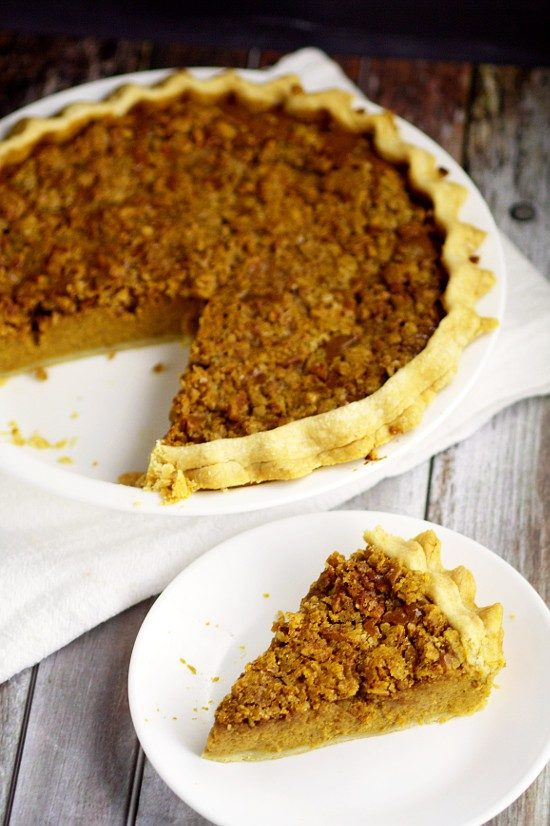 "Share a bit of eggnog at your Thanksgiving dinner with this <a href=""http://www.thegraciouswife.com/eggnog-pumpkin-pie/"" target=""_blank"">'nog pumpkin pie</a>."
