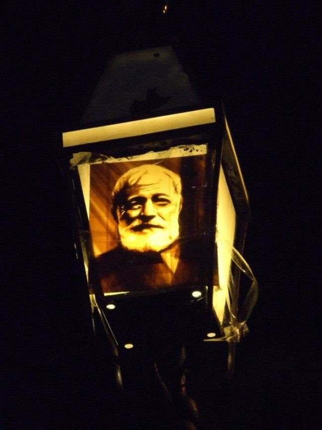 The guerrilla street art initiative began to pop up on streetlights around the world. This Ernest Hemingway sticker was photographed in Key West, Florida.
