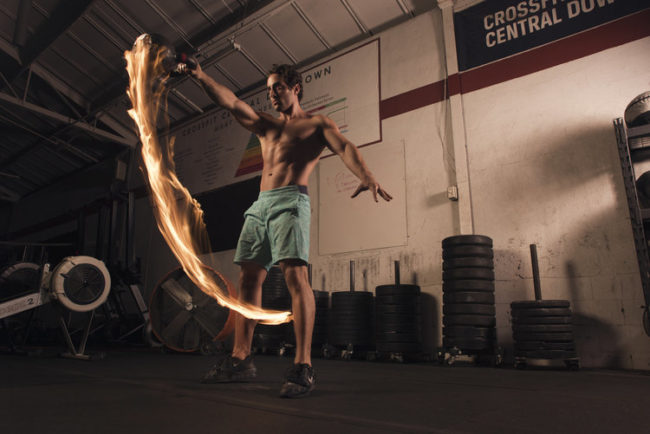 The results are incredible. As this athlete sends a flaming kettlebell through the air, it's impossible not to marvel at his power and strength.